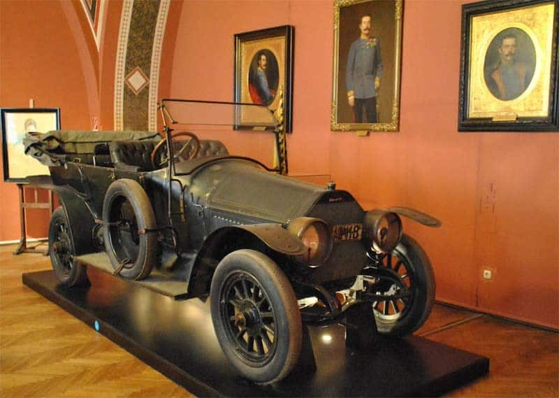 The Car That Witnessed the Spark of World War I - the car in which Archduke Franz Ferdinand and his wife Sophie were assassinated in as they were driven through Sarajevo on a state visit on 28 June 1914.