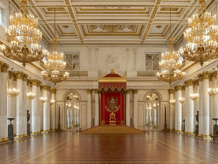 Grand Throne Room: Admire the room that served as the scene for the most formal ceremonies of the Imperial court and remains one of the most significant rooms at the State Hermitage Museum.