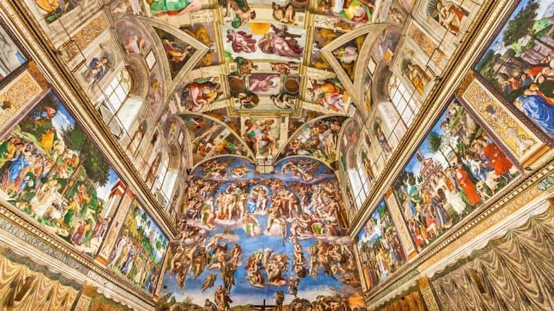SISTINE CHAPEL - It is among the major tourist attractions in the world. Figures painted by Michelangelo represent many scenes from the Bible.