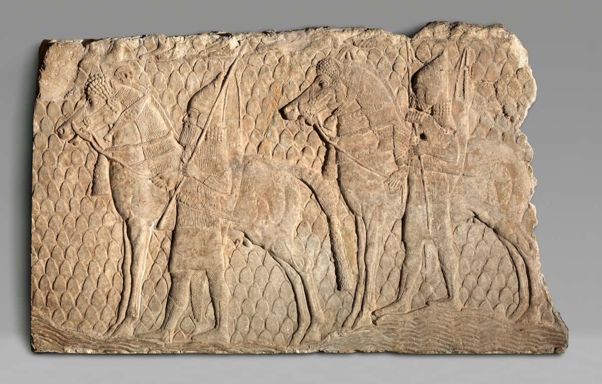 Relief fragment: cavalrymen along a stream in mountainous terrain: This relief was found in a palace in Nineveh. Here we see an example of how the Assyrian army invaded and captured cities. Hezekiah may have been aware of this battle strategy. Notice various details showing the Assyrian army in action.