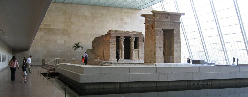The Temple of Dendur: This Original Egyptian Temple is the only complete Egyptian Temple in the Western Hemisphere of the Planet. It was built in honor of the Egyptian Goddess Isis.